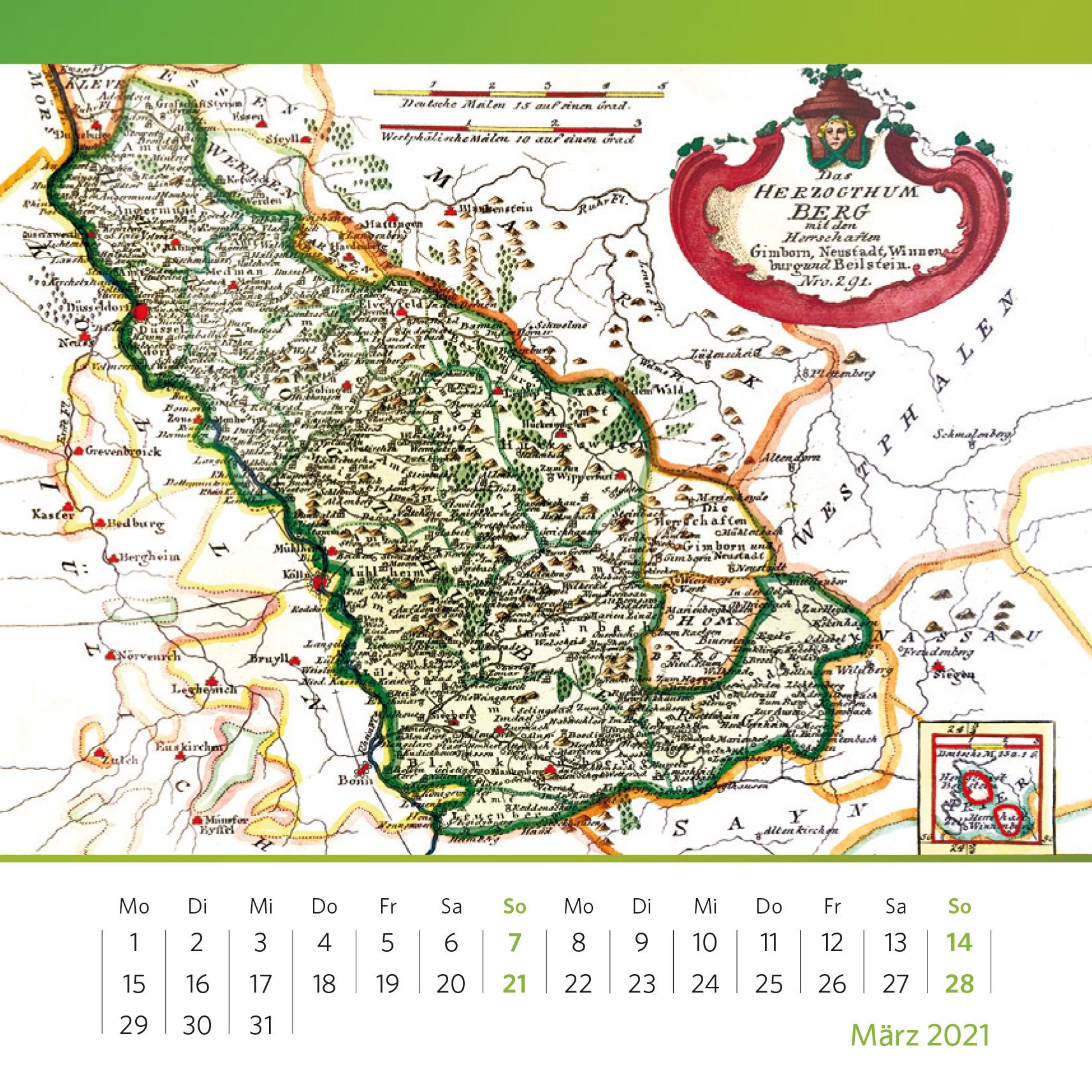 Das Herzogtum Berg als grüner Bereich Historische Karte von 1791, handkolorierter Kupferstich, 21x27 cm. Foto: Oliver Kolken