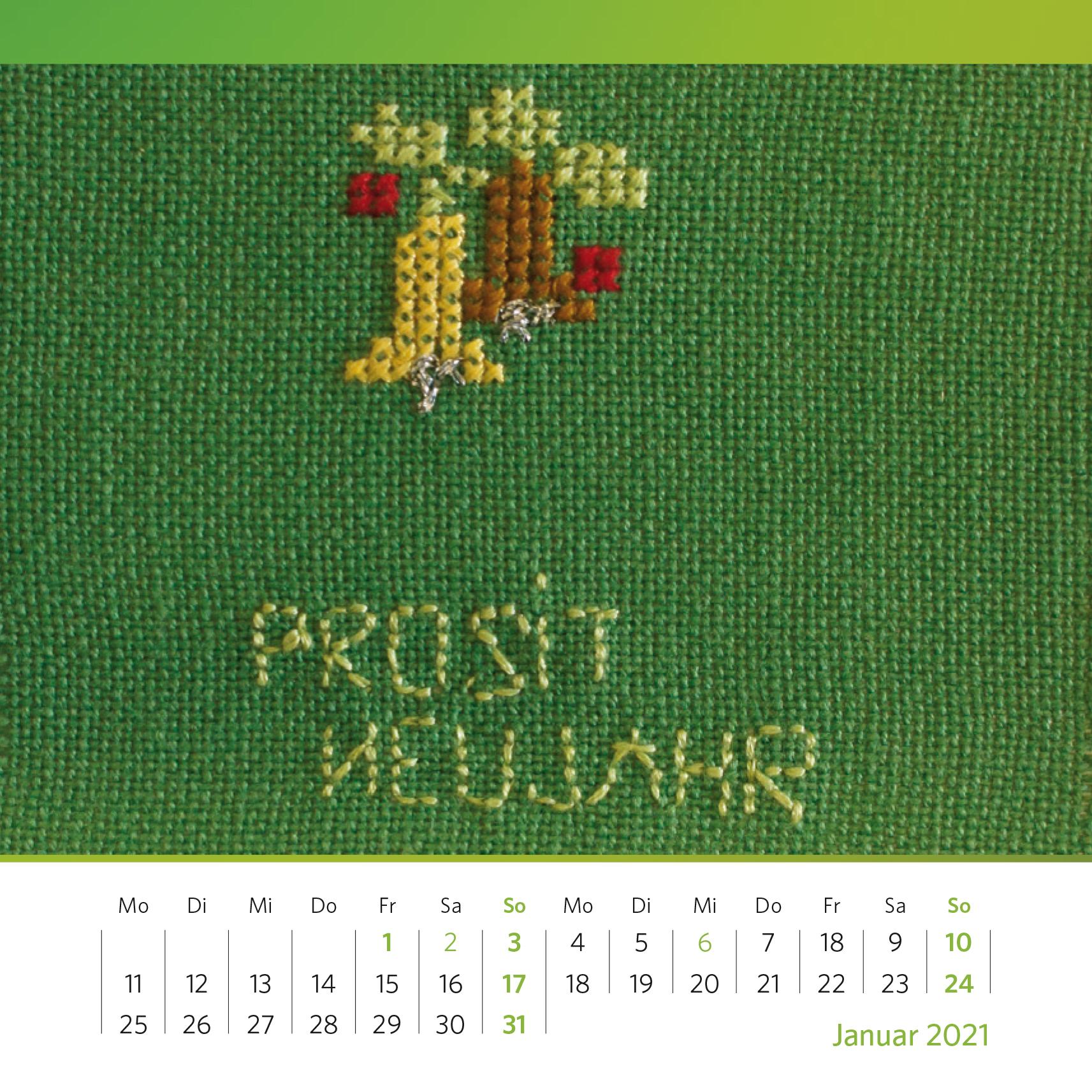 Grüne Neujahrsgrüße. Handgestickte Neujahrskarte aus den 1950er Jahren. Foto: Oliver Kolken
