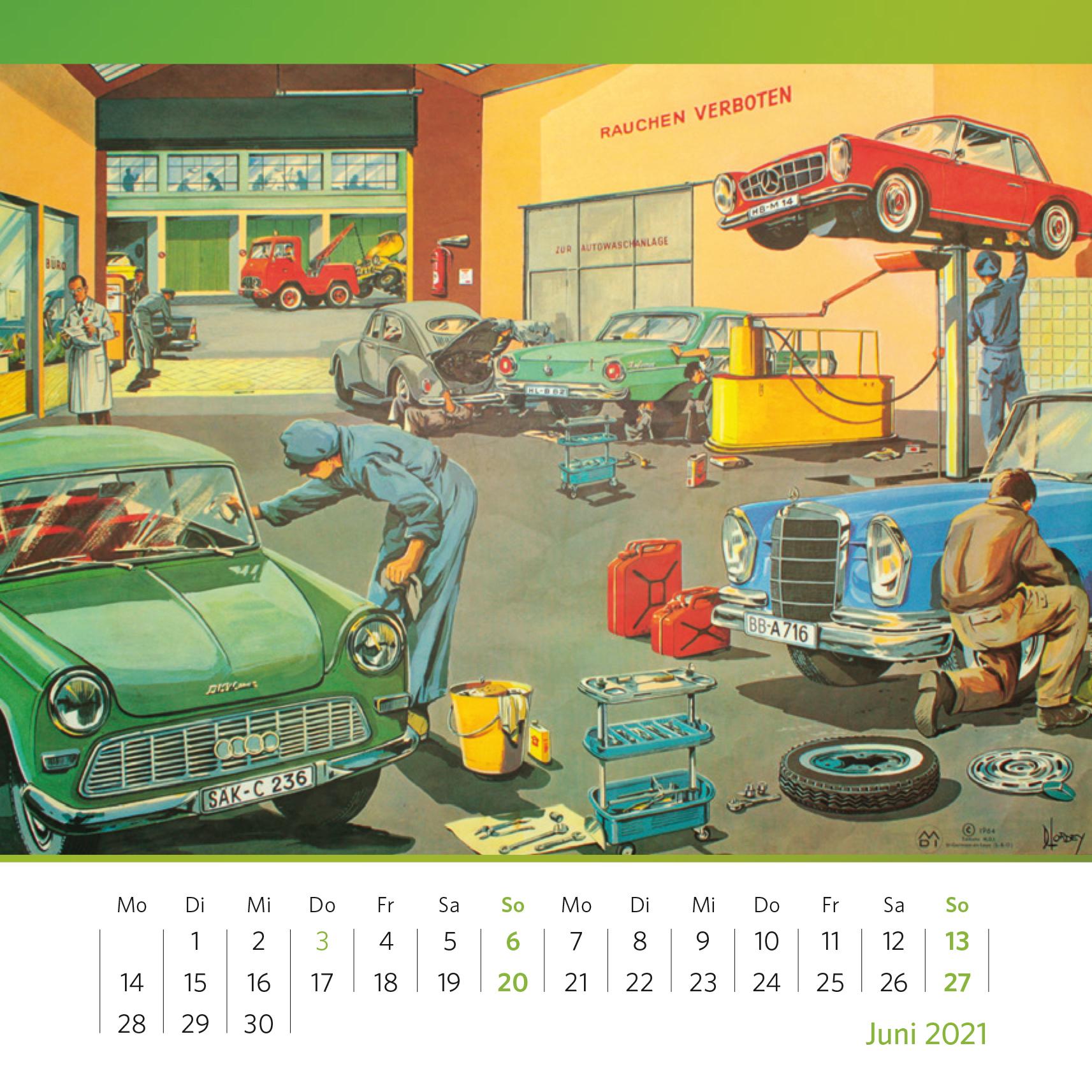 Nach dem Service ist wieder alles im grünen Bereich. Schulwandtafel mit Autowerkstatt, Druckgrafik, 1964. Foto: Oliver Kolken
