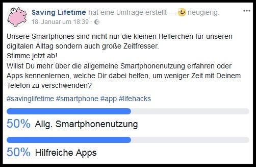 Umfrage innerhalb der Facebook-Community zum Thema Smartphonenutzung