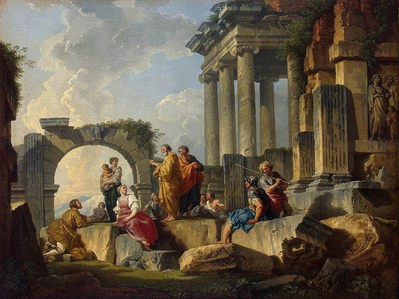 """Giovanni Paolo Pannini , """"La predicazione dell'apostolo Paolo"""" (1744)"""