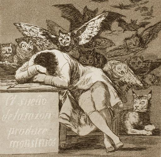 """F. Goya, """"Il sogno della ragione genera mostri"""" (1797)"""