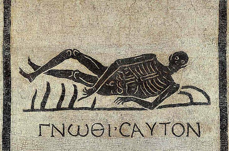 """Mosaico d'epoca romana che rappresenta uno scheletro con la scritta in greco antico """"Conosci te stesso"""""""