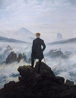 """Caspar David Friedrich, """"Viandante sul mare di nebbia"""", 1818"""