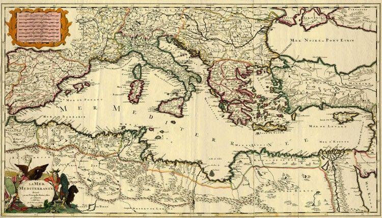 Antica mappa del Mediterraneo