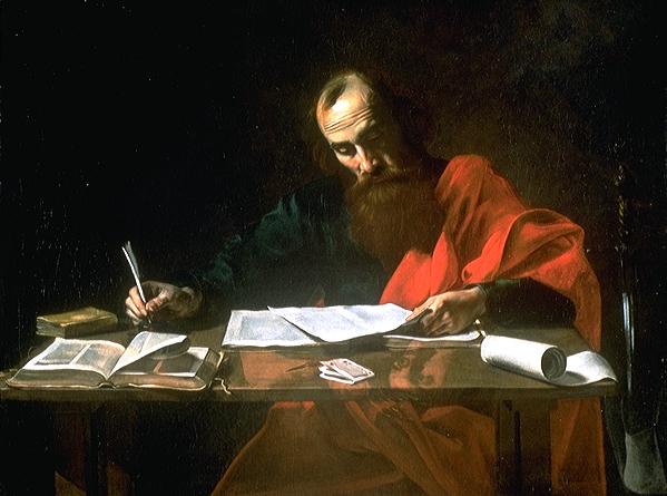 """Valentin de Boulogne o Nicolas Tournier, """"San Paolo che scrive le sue lettere"""", XVI secolo"""