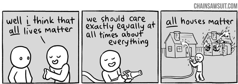 """""""Ecco, penso che le vite di tutti siano importanti allo stesso modo"""" – """"Dovremmo occuparci equamente di qualsiasi cosa in ogni momento"""" – """"Tutte le case sono importanti"""""""