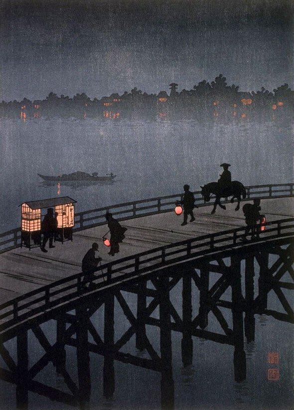"Hiroshima Koho, ""Veduta nottura del ponte Ohashi"""