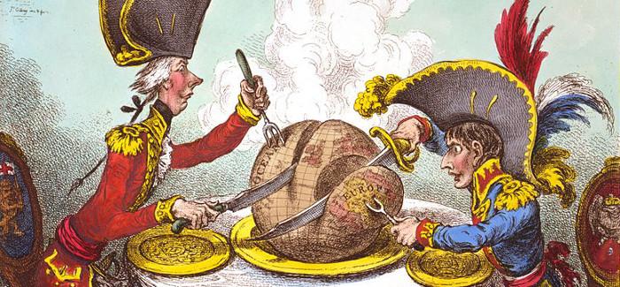 Pitt il Giovane e Napoleone mentre si spartiscono il mondo (vignetta satirica di James Gillray)