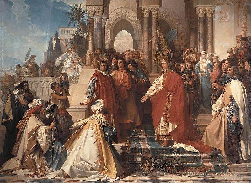 Federico II riceve gli ambasciatori del Sultano al-Malik al-Kamil