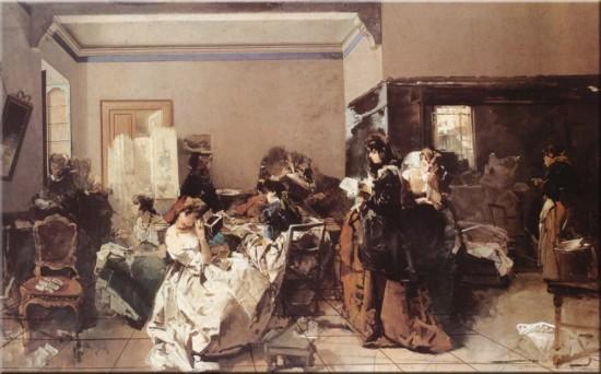 """D. Induno, """"La scuola delle sartine"""" (1858-60)"""