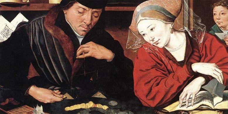 """Marinus van Reymerswaele, """"Il banchiere con la moglie"""""""