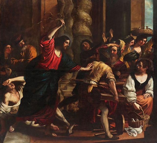 """Guercino (1591-1666), """"Gesù caccia i mercanti dal tempio"""""""