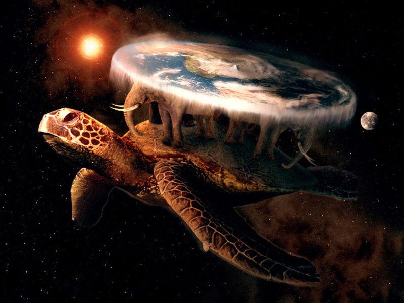 Nell'antichità preclassica si riteva che la Terra piatta dovesse reggersi su esseri come elefanti e tartarughe