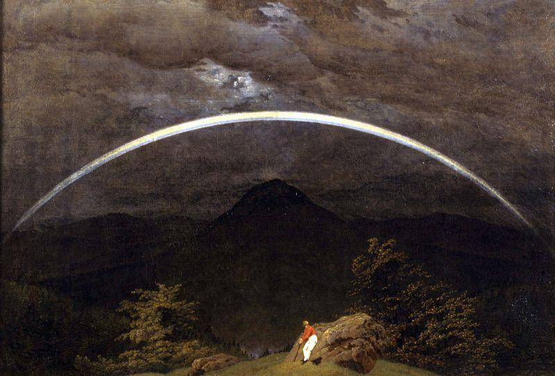 """C.D. Friedrich, """"Paesaggio montano con arcobaleno"""""""