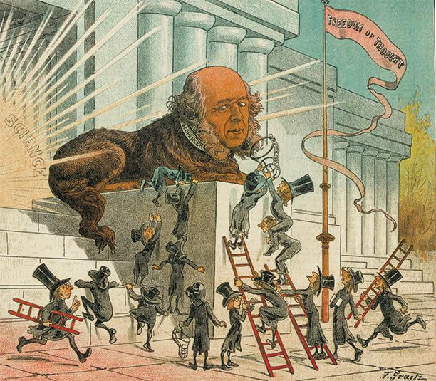 Illustrazione caricaturale che ritrae Herbet Spencer