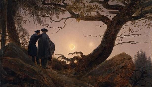 """C.D. Friedrich, """"Un uomo e una donna in contemplazione alla luna"""" (1819)"""