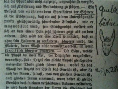 """""""Che sciocchezza!"""" (Quelle bêtise), l'annotazione di Schopenhauer a una pagina hegeliana con sotto il disegnino di un somaro"""