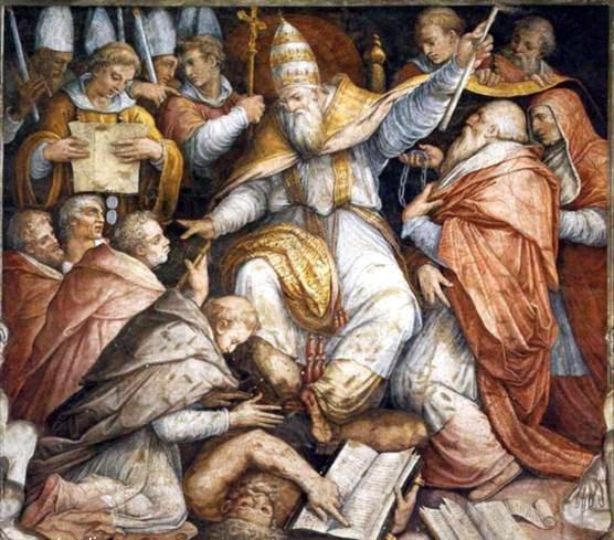 "Giorgio Vasari, ""Papa Gregorio IX scomunica a Federico II"", Palazzi Vaticani"