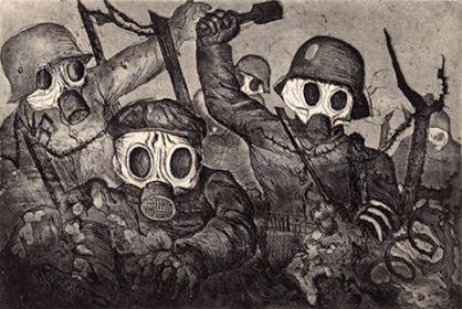 Otto Von Dix, l'orrore della guerra durante un attacco di gas, 1924