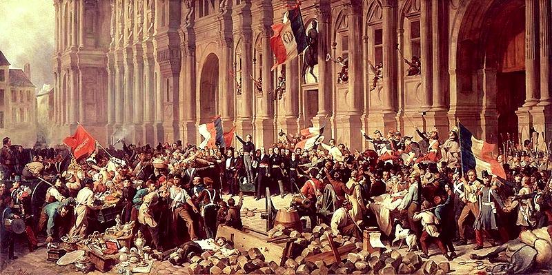 """H.F.E. Philippoteaux, """"Lamartine devant l'Hôtel de Ville de Paris le 25 février 1848 refuse le drapeau rouge"""""""