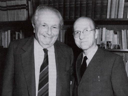A sinistra, Ludovico Geymonat insieme a Mario Dal Pra