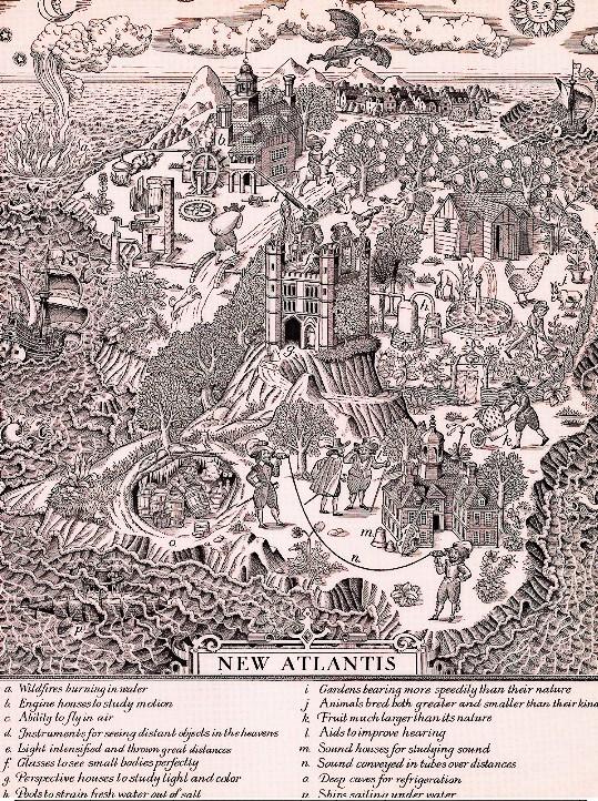 """Rappresentazione della """"Nuova Atlantide"""" immaginata da Bacone"""