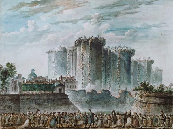 """Jean-Pierre Houël, """"La distruzione della Bastiglia"""" (1789)"""