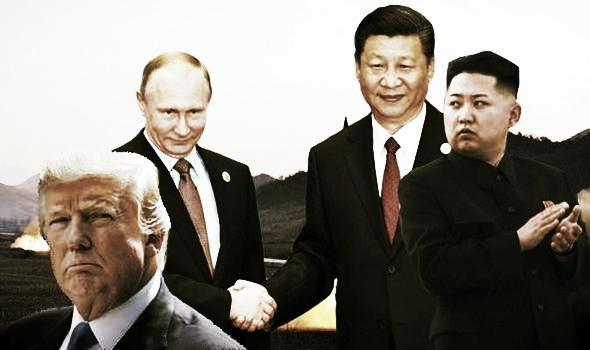 Trump (USA), Putin (Russia), Xi Jinping (Cina), Kim Jong-un (Corea del Nord)
