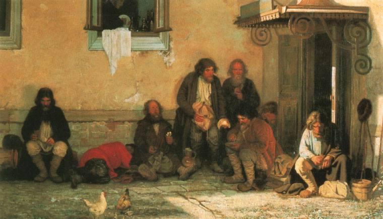 "Grigorij Mjasoedov, ""Lo zemsto è a pranzo"" (1872)"