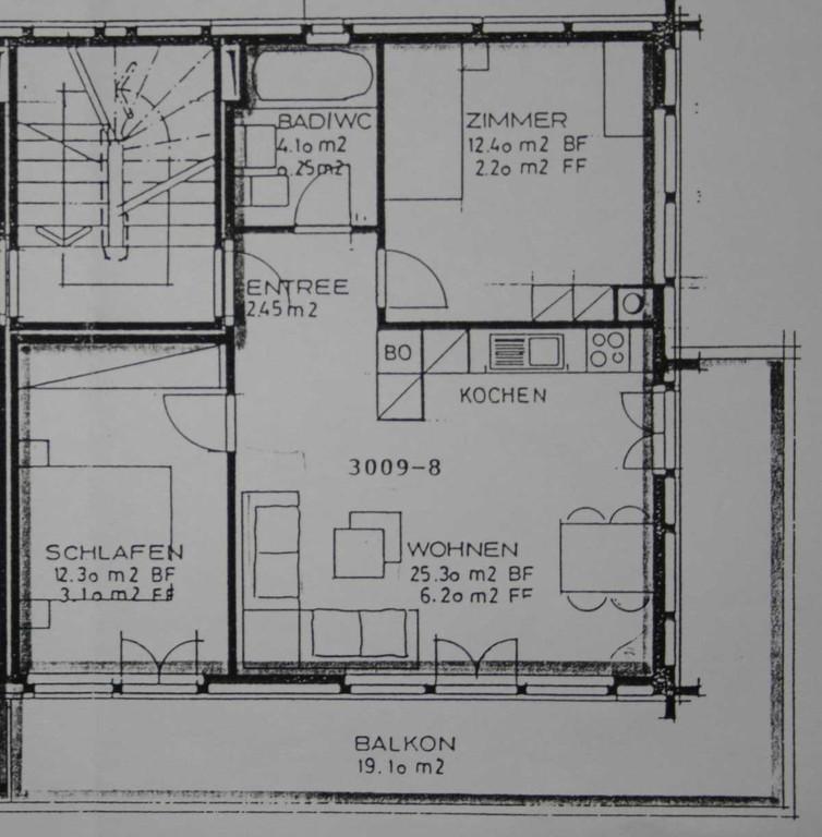 Grundriss der 3 1/2 Zimmer Wohnung