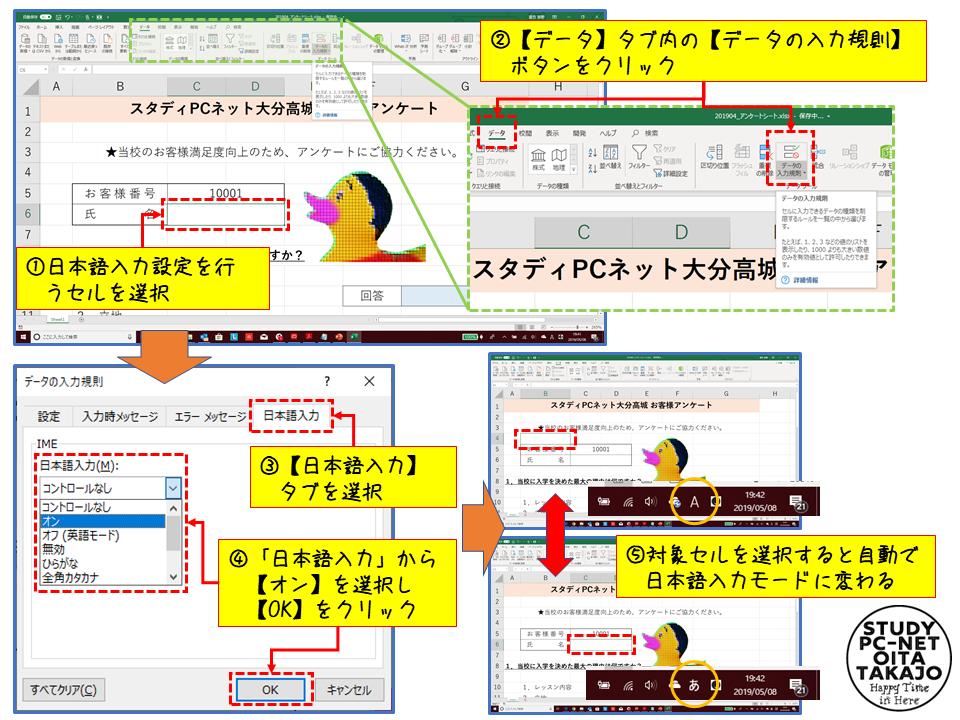 日本語入力へ自動で切り替えたいセルを選択し【データ】タブの【データの入力規則】ボタンをクリックします。  表示されたウィンドウから【日本語入力】タブを選択し、「日本語入力」から【オン】選択し、最後に【OK】をクリックすれば作業は完了です。