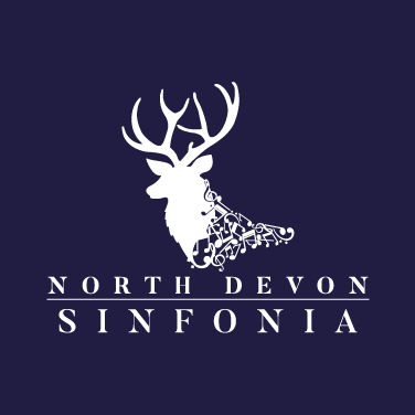 North Devon Sinfonia Festival Logo Design with Text,  Blue Background, North Devon Logo Designer