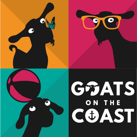 Final full colour sqaure logo design for Goats on the Coast, Design By Pie, Graphic Designer, North Devon