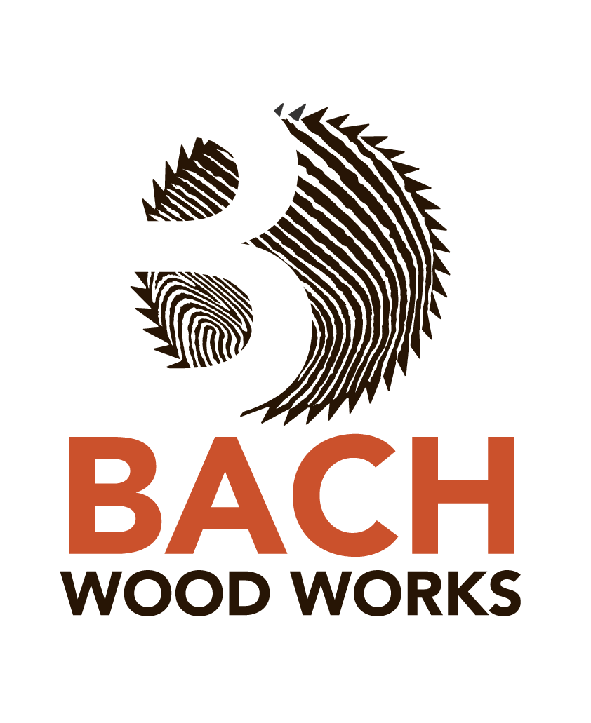 Bach Wood Works Final Full Colour Logo, by Design By Pie, Graphic Designer, North Devon