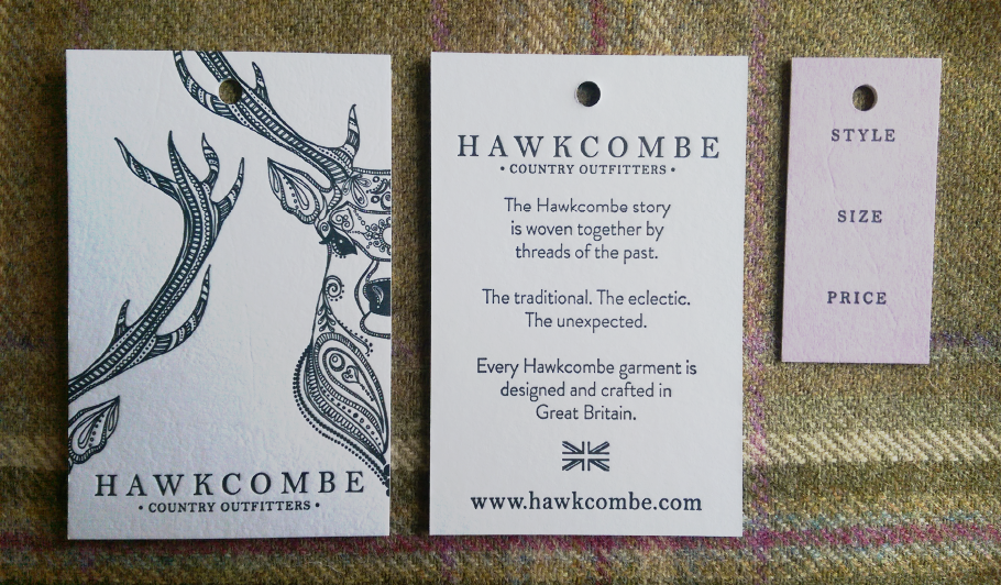 Hawcombe Country Outfitters letterpressed label design, label designer, Design By Pie, North Devon