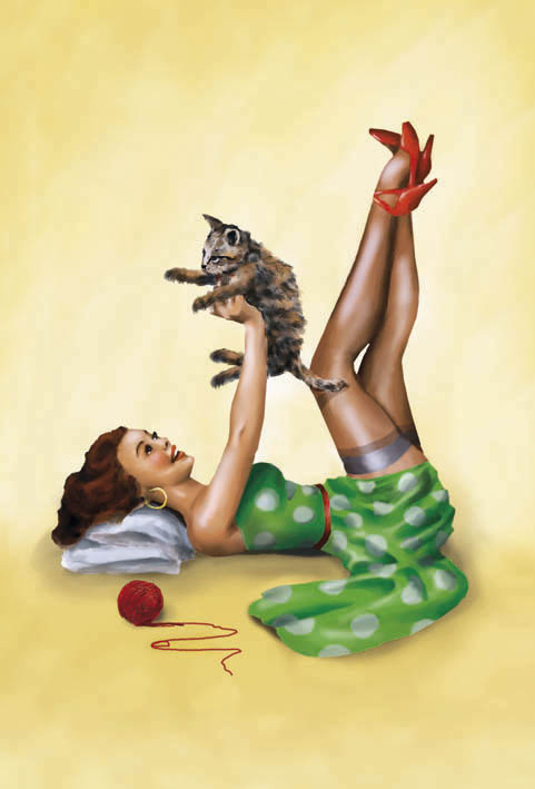 Illustration Pin-Up für Sonderedition Schokoladentafeln (Kunde: Confiserie Heilemann GmbH)