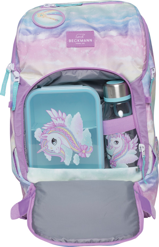 Schulrucksack-Fronttasche gefüllt