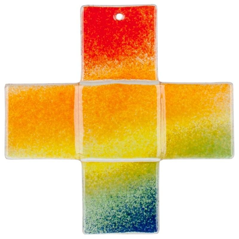 Glas-Kreuz in Regenbogenfarben