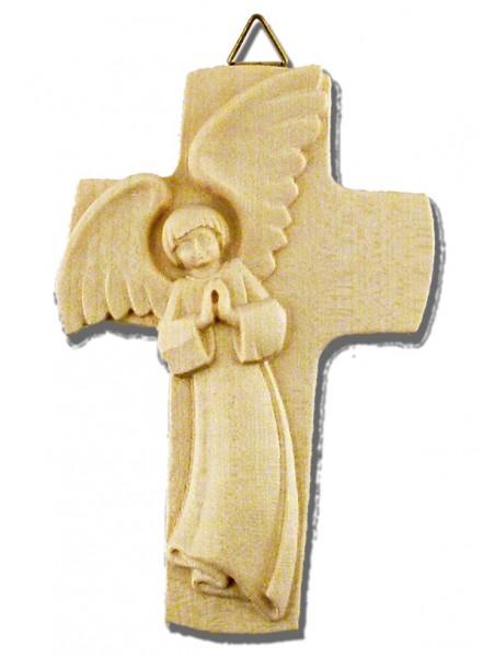 Holzkreuz mit eingeschnitter Engelsfigur