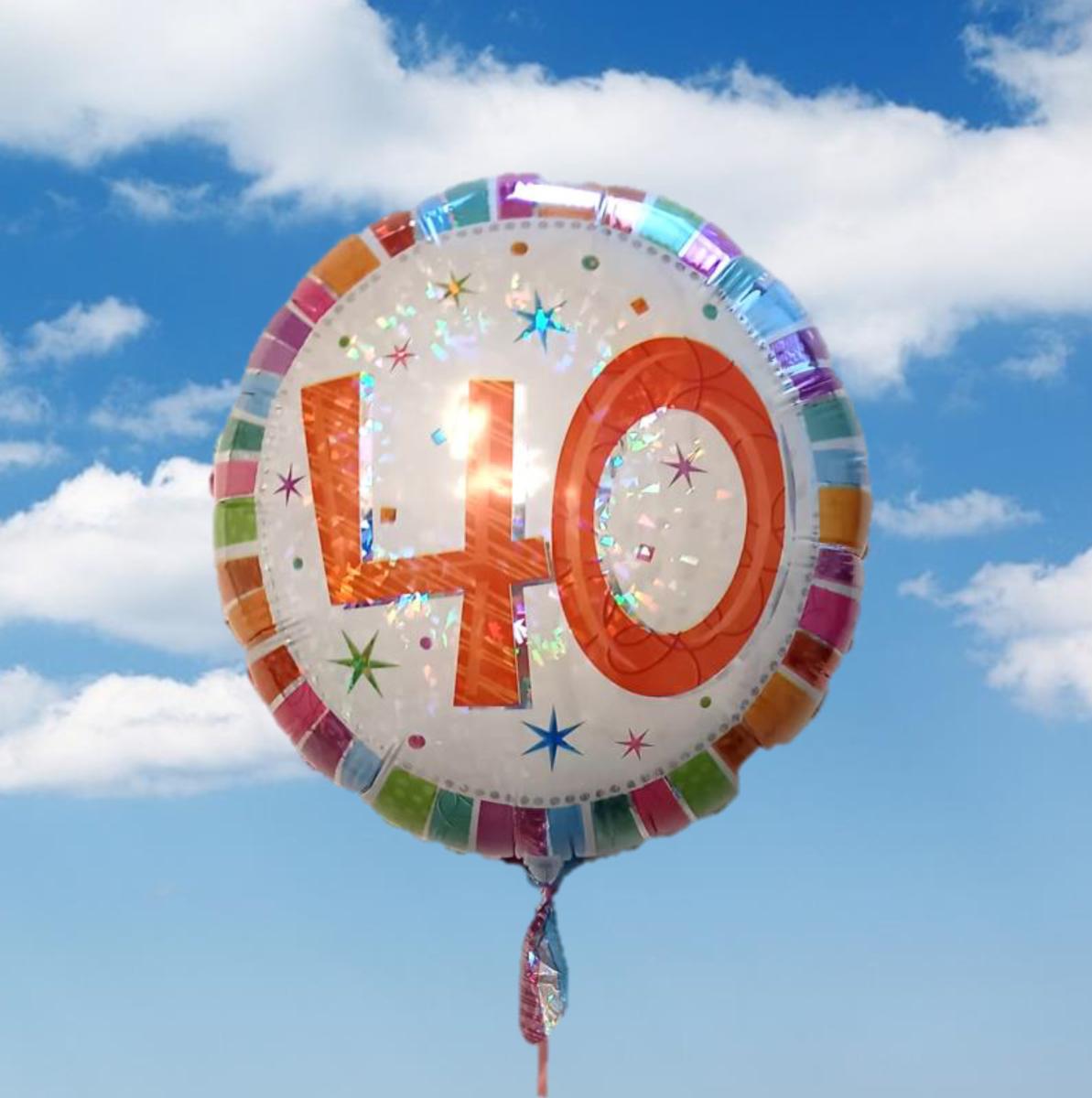 """Helium-gefüllter Geburtstags-Ballon """"zum 40. Geburstag"""""""