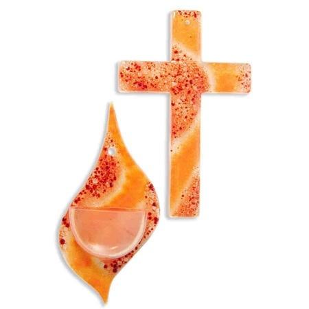 Glas-Set Kreuz und passendes Weihwasser-Gefäss