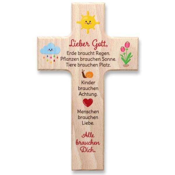 Holzkreuz mit Gebet oder Spruch
