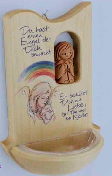 Spruch-Tafel aus Holz mit Engel