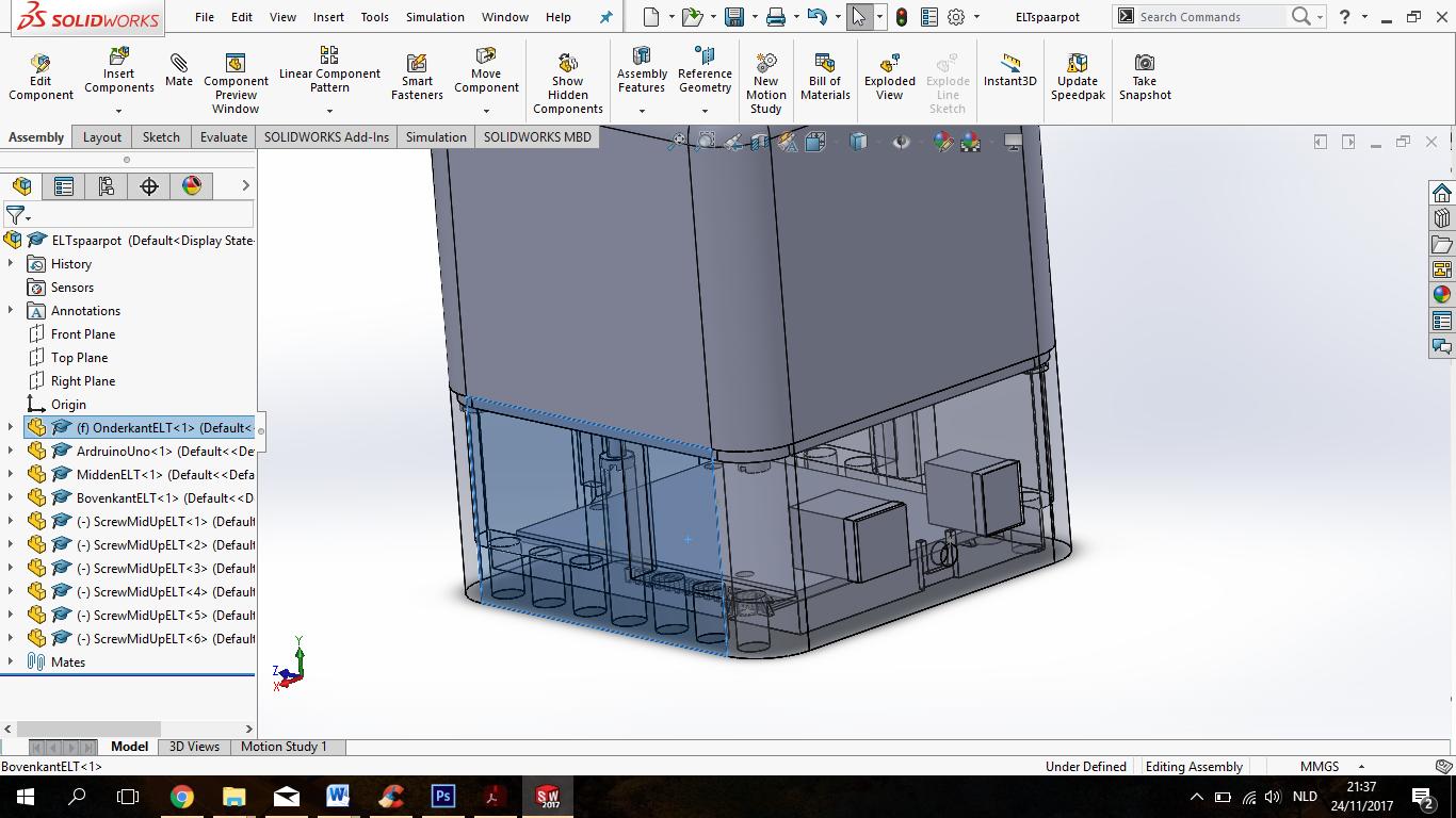 Behuizing uitgewerkt in SolidWorks.