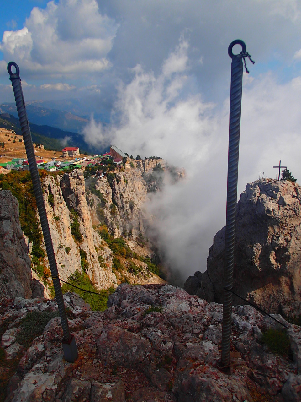 Not long ago, a hanging bridge connected the mountain with the peak