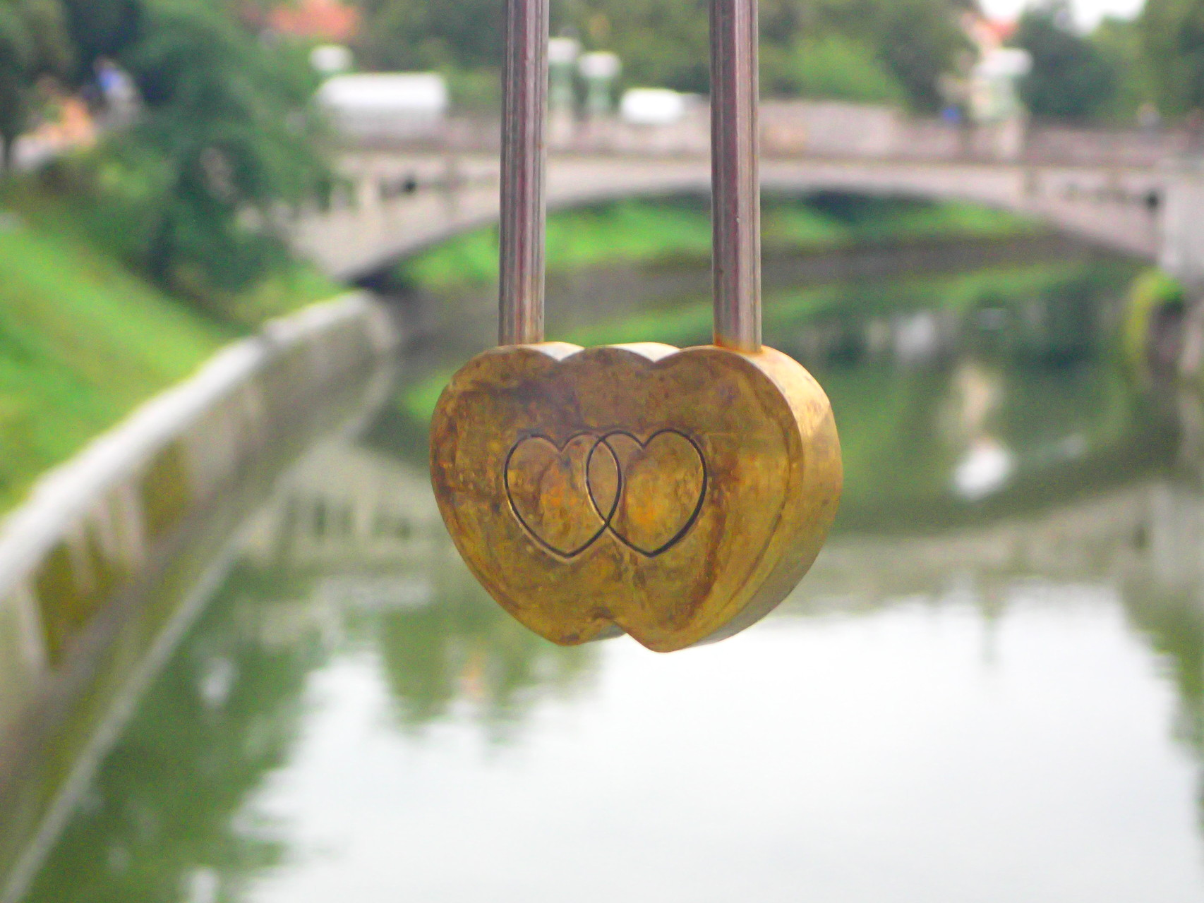 one of many love padlocks on the Butcher's Bridge