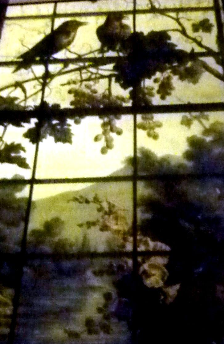 Photo prise depuis la rue en contre-plongée (le vitrail situé plus haut que le photographe, apparait raccourci)