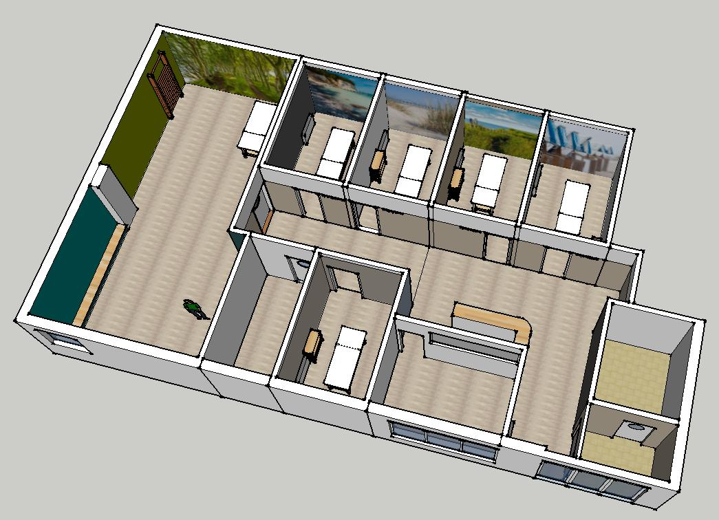 Überblick über die Räumlichkeit | Südseite | 3D