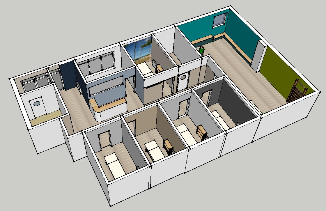 Überblick über die Räumlichkeit | Nordseite | 3D